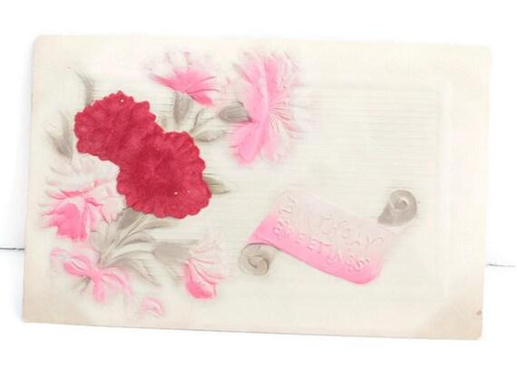 Flocked Red Flowers Birthday Postcard Bouquet Embossed Design Antique Postcard