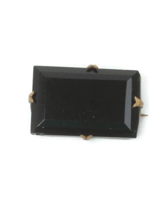 Victorian Black Glass Mourning Pin Faceted Rectangular Vintage Antique