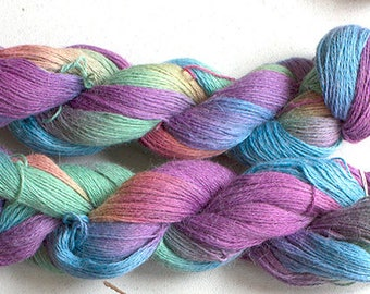 Alpaca Cotton Lace, Hand Painted yarn, 300yds - Garden Party
