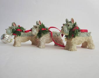 Vintage Christmas Dog Ornament - Schnauzer Dog Christmas Ornament - Scottish Terrier Dog Ornament - Dog Lover Gift