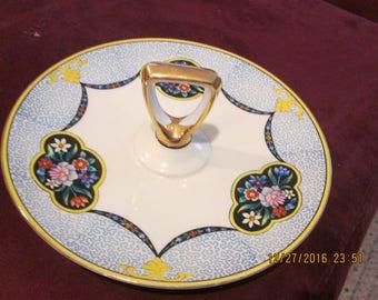 Sandwich server, Noritake hand painted 1930's flower motif
