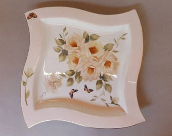 Square Platter with Pale Pink Peach Roses and Butterflies