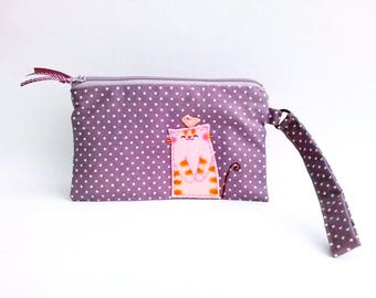 iPhone 6 wristlet wallet cat clutch purse purple cellphone wristlet zipper pouch iPhone pouch wristlet cat wristlet mobile wristlet