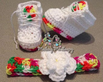 Newborn Crochet Fruity Pebble Inspired Sneakers With Matching Crochet Headband
