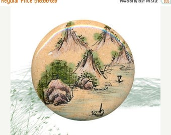 OH BOY SALE Button--Medium Modern Chinese Enamel on Copper Mountain Valley Scene