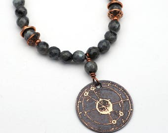 Universe necklace with grey black Norwegian moonstone semiprecious stone beads, etched metal, 19 1/2 inches long