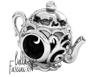 Teapot High Tea - Fancy Scroll - 925 Sterling Silver European Bead Charm - Fits Pandora and All Compatible Bracelets - BELLA FASCINI® F-51N