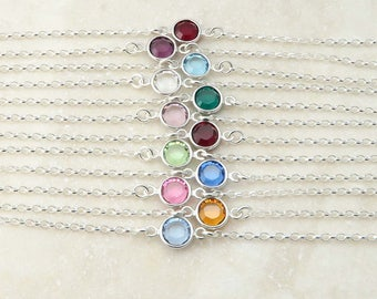 Birthstone Bracelet - dainty sterling silver and crystal - birthday gift for her - bridesmaid gift