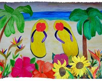 Yellow flip flops coastal beach throw blanket from my original art.