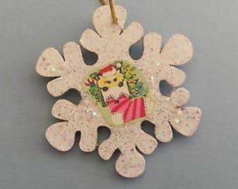 Vintage Glittered Christmas Cat Snowflake Wood Ornament