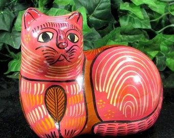 Vintage TALAVERA MEXICO CAT Figure Pink Painted Folk Art Figurine Enameled Figure