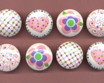 PINK HEARTS and  FLOWERS - Hand Painted Wooden Knobs / Pulls - Set of 8 - Great for Nursery or Little Girl's Room