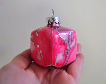 Christmas Ornament - Hand Painted Glass Cube
