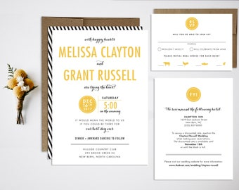 Wedding Invitation Bundle, Modern Wedding Invitation, Black and White Wedding, Simple Wedding Invitation, Stripes, Typographic