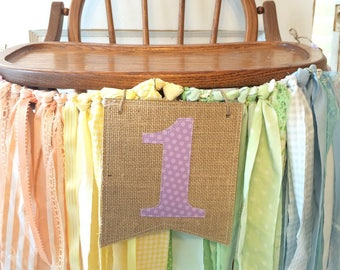 First Birthday Girls High Chair Banner. First Birthday Party Supplies. Soft Rainbow Chair Banner w/Burlap Flag. CUSTOM colors to match too
