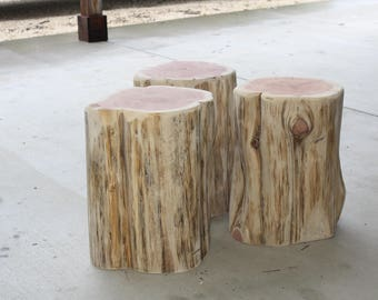 Rustic Furniture, Wood Stump Table, Timber Side Table, Natural Wood End  Table,