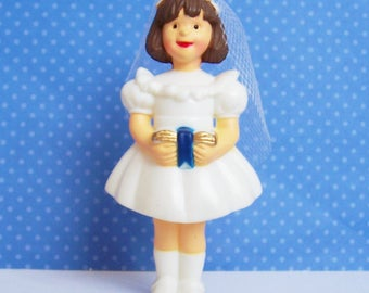 """Bakery Crafts Communion Girl Cake Topper Vintage 1997 New Old Stock 3 1/2"""""""