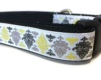 Dog Collar, Damask,  1 inch wide, adjustable 18-26 inches, quick release