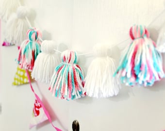 Yarn Tassel Garland - banner - Tidal  - Teal White Coral - Birthday Home or  Nursery Decor