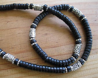 Black Turquoise and Pewter Necklace, Native American Necklace, Ethnic Necklace, Heishi Necklace, Turquoise Necklace, Tribal Necklace