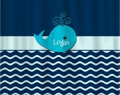 Personalized Waves Whale Theme Shower Curtain and Bath Mat Set - Navy with Aqua mist blue and Turquoise Accent Option - Can change colors