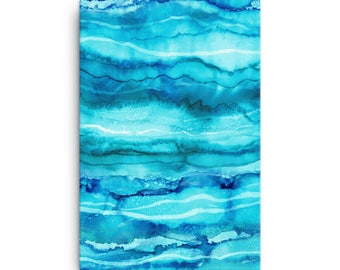 Waves - 24x36 Stretched Canvas Print, Coastal Home Decor, Large Canvas Wall Art, Blue Abstract Painting, Water Abstract Painting, Turquoise