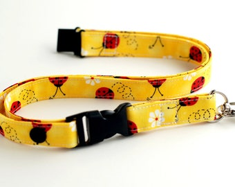 Fabric Lanyard, Ladybug Lanyard, Optional Breakaway Lanyard, Single or Double Breakaway Lanyard, Detachable Lanyard or Key Fob Wristlet.