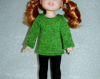 """Top and Pants for 14"""" Wellie Wishers or Melissa & Doug Doll Clothes Green fleece Sweater Knit top Black Pants  tkct1158 READY TO SHIP"""