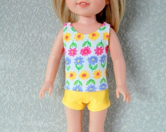 Spring Sale Flower Tank Top and shorts set handmade for 14.5 inch Wellie Wishers tkct1220 READY TO SHIP