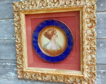 Vienna Art Plate KPM in wooden shadow box frame blue gold rim Portrait Woman