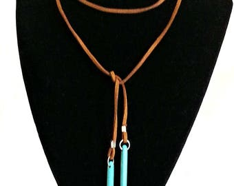 Leather choker tan camel womens necklace lariat with turquoise spike ends 50 inches