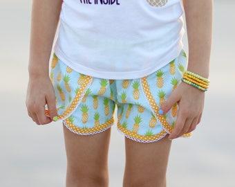 Girls shorts, pineapple shorts, coachella shorts, girls shorts, pineapples, girls pineapple outfit, toddler shorts, by Melon Monkeys