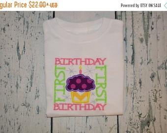 ON SALE First  Birthday Shirt or bodysuit  Cupcake