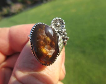 BAJA BEAUTY from BENITO - Sterling Silver Mexican Fire Agate Ring - Size 9 1/2 - Free Resizing
