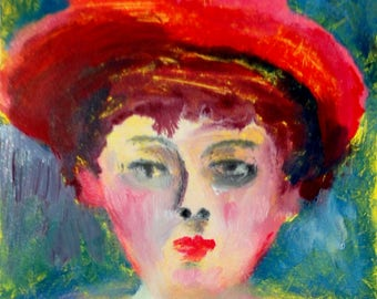 Girl in Hat, a one of a kind monotype print