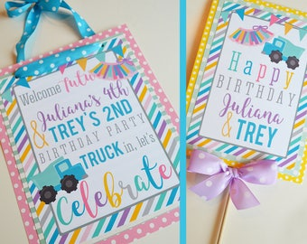 Tutus and Trucks Birthday Party Decorations Fully Assembled | Boy Girl Birthday | Brother Sister Birthday | Twins Birthday Party |