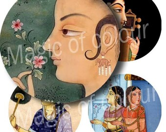 Digital Collage of    Indian Woman Illustration  - 63  1x1 Inch Circles JPG images - Digital  Collage Sheet