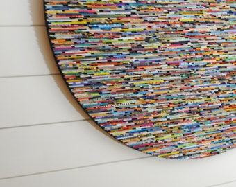 extra LARGE - Bright and colorful round wall art- made from recycled magazines, colorful unique 34 inch circle,interior design,texture,lines