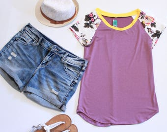 Magenta Soft Knit Tshirt, Floral Print Sleeves, Mustard Yellow Neckline, Womens Summer Tops