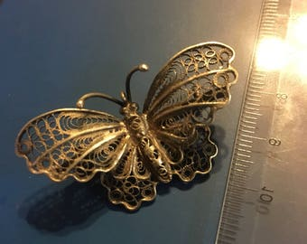 Antique italy sterling silver butterfly brooch