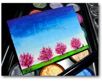 Wildlife Wonders Rabbit - Minimalism Spring Magnolia - Original ACEO Painting - Art by AmyLyn Bihrle wd171