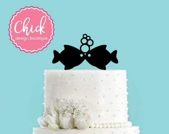 Fish Kissing, Two Less Fish in the Sea, Nautical Summer Beach Wedding Acrylic Wedding Cake Topper