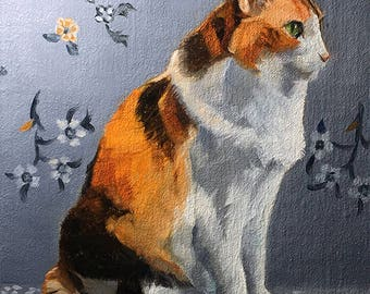 Gray Blue Calico 07 - Original Cat Painting by Nancy Cuevas - LIttle Kitty Paintings
