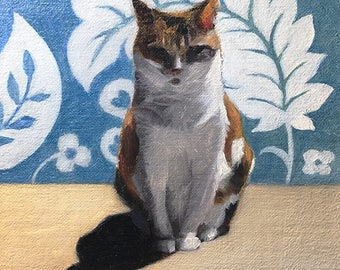 Totem Calico - Original Cat Painting by Nancy Cuevas - LIttle Kitty Paintings