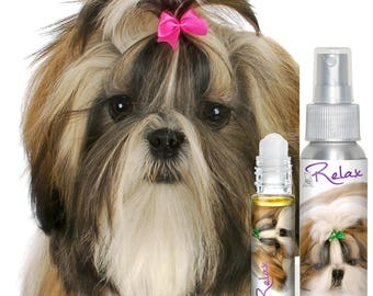 SHIH TZU RELAX Aromatherapy for Dog Anxiety with Shih Tzu Puppy on Label For Canine Anxiety, Stress, Fearfulness, Thunderstorms, 4th of July