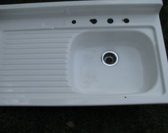 Vintage Porcelain Enamel Farmhouse Sink With Drainboard