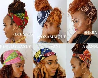 Satin Lined Wide Headband Wrap Pineapple Messy Bun Wrap Ankara African Print Wrap Turban Satin Lining - Choose Print