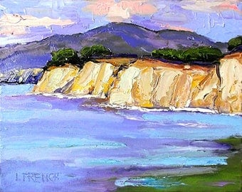 Impressionist California Plein Air Landscape Seascape Capitola Cliffs MONTEREY BAY Pacific Ocean Lynne French 11x14