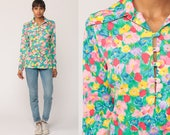 Floral Blouse 70s Boho Top Button Up Shirt Bohemian Long Sleeve 1970s Vintage Hippie Bright Summer Pink Green Blue Medium
