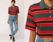 Polo Crop Top Striped Shirt Short Sleeve Shirt 80s T Shirt Grunge Top 1980s Red Green Hipster Retro Tee Vintage Small Medium